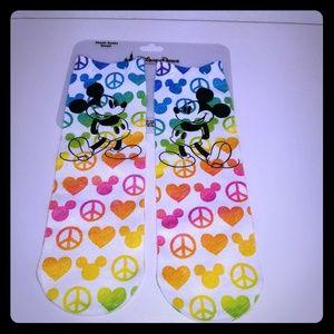 Disney Parks Mickey Mouse Peace Love Pride Socks